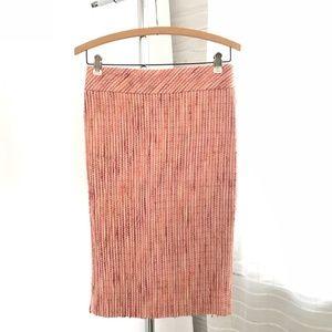 Zara Woman Pink Tweed Midi Skirt Back Split